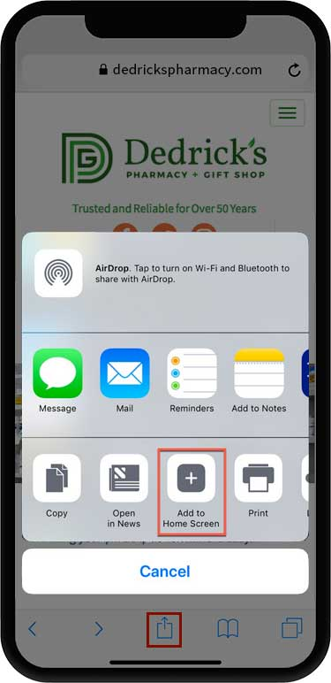 showing the location of the Add to Homescreen icon on iphone